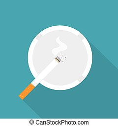 ilustración, icon-, cigarrillo, cenicero, abrasador, vector