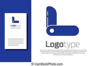 ilustración, icono, logotipo, fondo., azul, vector, multiuso, element., suizo, diseño, tool., ejército, cuchillo, blanco, multi-tool, multifunctional, aislado, plantilla, penknife.