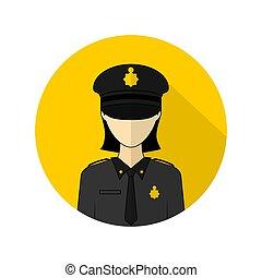 ilustración, icono, vector, avatar, mujer policía