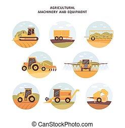 ilustración, iconos, agrícola, vector, isolated., conjunto, ...