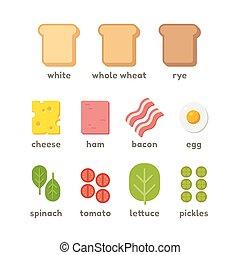 ilustración, ingredientes, emparedado