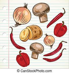ilustración, ingredientes