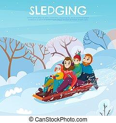 ilustración, invierno, recreación