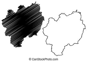 ilustración, isla, prefecture), mapa, japón, garabato, (...