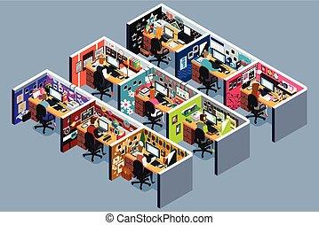ilustración, isométrico, cubículos, oficina, empresa / ...