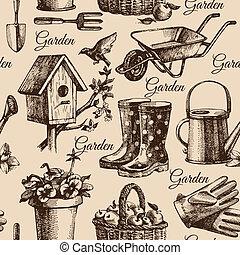 ilustración, jardinería, seamless, bosquejo, pattern., mano...