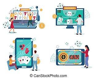 ilustración, juego, vector, en línea, casino, aislado, ...