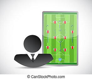 ilustración, juegos, board., coche del fútbol