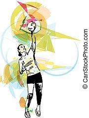 ilustración, jugador, jugando voleibol