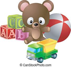 ilustración, juguetes