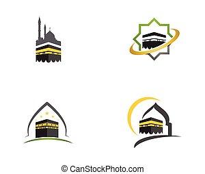 ilustración, kaaba, vector, icono