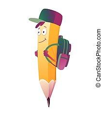 ilustración, lápiz, espalda, su, brazos, emoji, cartoon., lindo, escuela, carácter, bolsa, humanized, cara