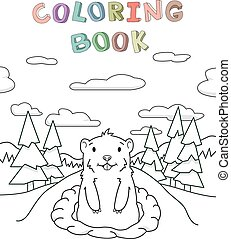 ilustración, lindo, estilo, colorido, book., escénico, cielo, pino, caricatura, mirar, fondo., madriguera, vector, bosque, marmota, contorno, afuera
