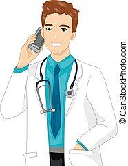 ilustración, móvil, llamada, hombre, doctor