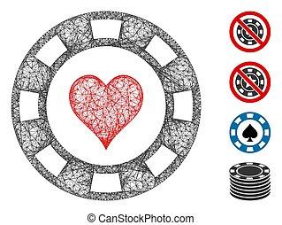 ilustración, malla, casino, tela, astilla, corazón, vector