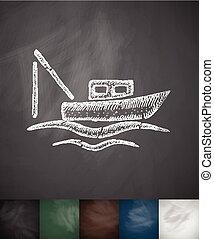 Ilustración, mano,  vector, dibujado, icono, barco