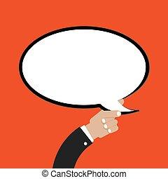 ilustración, mano, vector, discurso, cómico, burbuja