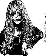 ilustración, mano, zombi, vector, dibujado, niña
