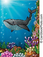 ilustración, mar, debajo
