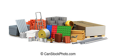 ilustración, materials., edificio, 3d