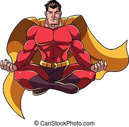 ilustración, meditar, superhero