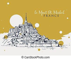ilustración, michel de santo del mont, bosquejo, dibujo, le