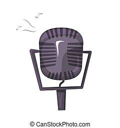 ilustración, micrófono, vector, vendimia