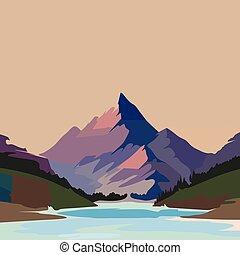 ilustración, montaña, vector, paisaje., impresionante