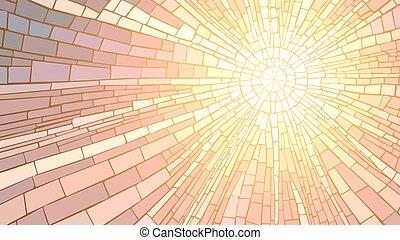 ilustración, mosaico, sunset.