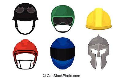 ilustración, motociclista, colección, casco, trabajador, cascos, atleta, vector, diferente, caballero, construcción