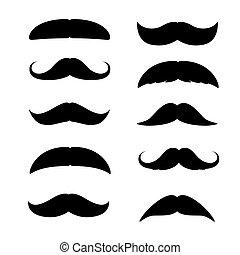 ilustración, moustaches., aislado, conjunto, hombre, silueta...