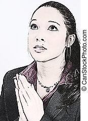 ilustración, mujer joven, rezando