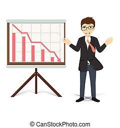 ilustración negocio, vector, descendente, infeliz, hombre de negocios, presente