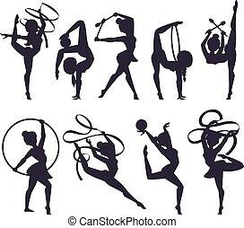 ilustración, niña, gimnasta, vector