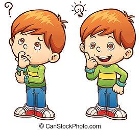 ilustración, niño del partido, chil, vector