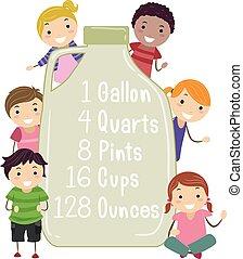 ilustración, niños, galón, stickman, equivalente