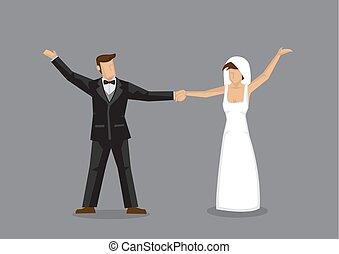 ilustración, novia, novio, baile, carácter, vector, boda