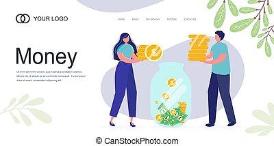 ilustración, página, monedas., tela, niña, banner., dinero...