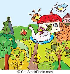 ilustración, paisaje, fairytale, casa, árboles, dibujo, niño