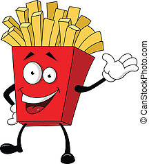 ilustración, papa frita, cartoo