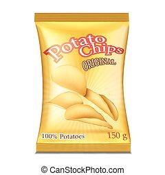 ilustración, paquete, vector, chips.
