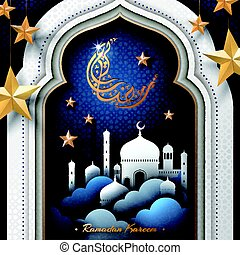 ilustración, para, ramadan