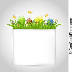 ilustración, pascua, colorido, huevos, en, hierba verde, con, vacío, papel, para, su, texto, -, vector