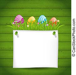 ilustración, pascua, colorido, huevos, en, hierba verde, con, vacío, tarjeta de papel, para, su, texto, -, vector
