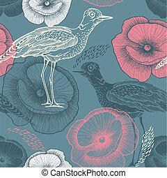 Ilustración, patrón,  seamless, flores,  vector, Aves