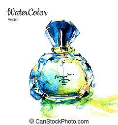 ilustración, perfume, acuarela, vector, mano, pintura