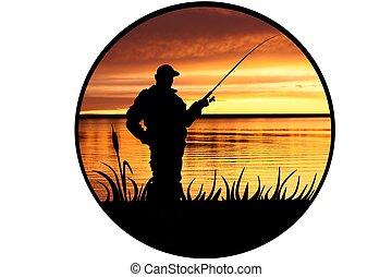 ilustración, pescador