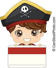 ilustración, pirata, etiqueta, nombre, niño, niño