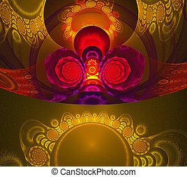 ilustración, plano de fondo, fractal, patrón, con, círculos,...