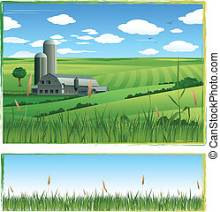 ilustración, plano de fondo, granero